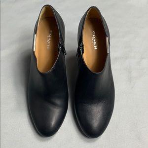 Black Coach Seneca Heeled Leather Ankle Bootie